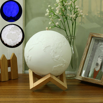 15cm Magical Two Tone Earth Table Lamp USB Rechargeable LED Blue White Night Light Touch Sensor Gift