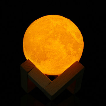 8cm Touch Sensor 3D Moon Table Lamp USB Color Changing LED Luna Night Light Kids Gift