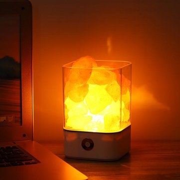 USB Power Supply Natural Himalayan Salt Lamp Unique Crystal Salts Night Light Home Bedroom Lighting Decor Crafts 7 Color Of Lights