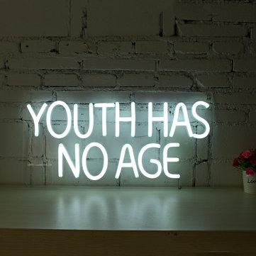 Youth Has No Age Neon Sign LED Tube Visual Artwork Bar Pub Club Wall Decor String Light