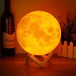 20cm 3D Magical Two Tone Moon Table Lamp USB Charging Luna LED Night Light Touch Sensor Gift