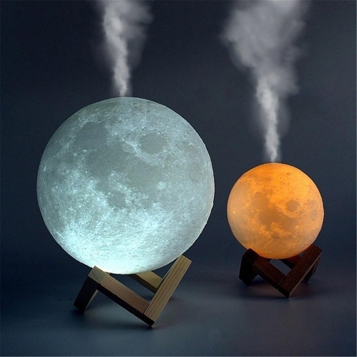 880ML 3D LED Night Light Air Humidifier Moon Lamp