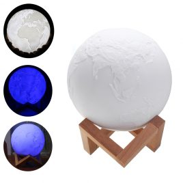15cm Magical Three Tone Earth Table Lamp USB Rechargeable LED Night Light Tap Sensor Gift